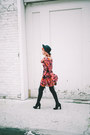 Black-faux-suede-boots-maroon-velvet-dress-black-felt-hat