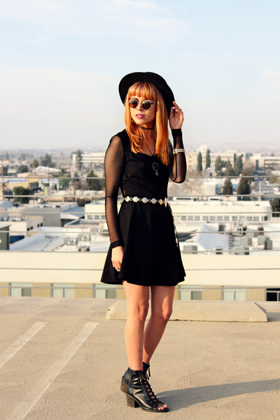 black skater gypsy warrior dress - black felt hat