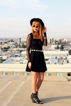 black skater gypsy warrior dress - black felt hat