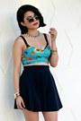 Sky-blue-floral-motel-rocks-top-gold-forever-21-bracelet
