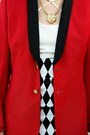 Red-menswear-thrifted-blazer-black-cat-eye-zerouv-sunglasses