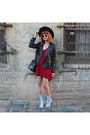 Light-blue-denim-boots-black-hat-black-sunglasses-ruby-red-chiffon-romper