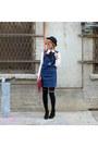 Navy-denim-tobi-dress-black-hat-brick-red-bag-white-bow-missguided-blouse