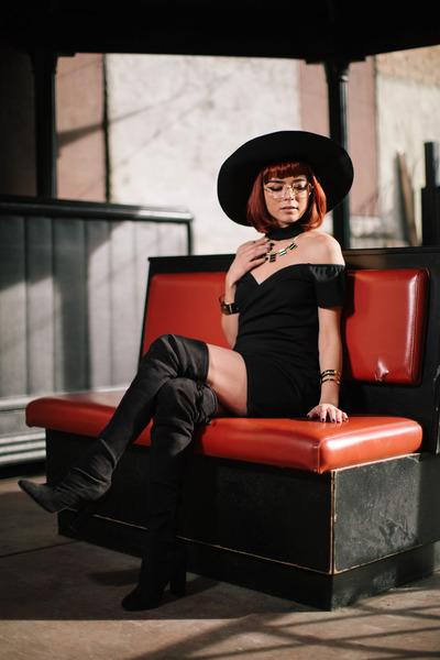 black Tobi dress - black boots - black hat - black accessories