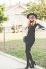 Black-suede-little-mistress-boots-black-bodycon-dress-black-felt-asos-hat