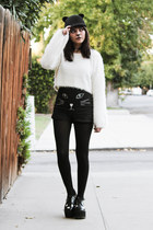 black platforms TUK boots - black felt romwe hat - white fuzzy Tobi sweater