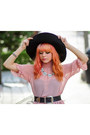 Light-pink-sheer-motel-rocks-dress-black-oversized-hat-heather-gray-socks