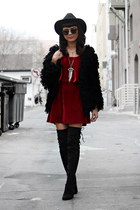 black Little Mistress boots - ruby red Tobi dress - black Ray Ban sunglasses