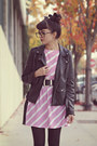 Bubble-gum-striped-rumorless-threads-dress-black-motorcycle-forever-21-jacket