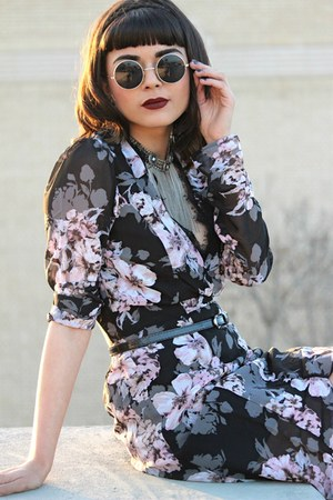 black floral Forever 21 dress - black lace up Forever 21 boots