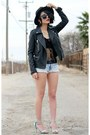 Black-felt-front-row-shop-hat-black-motorcycle-forever-21-jacket