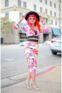 Hot-pink-floral-hedonia-dress-black-felt-hat