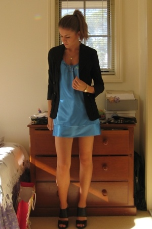 Diane Von Furstenburg blazer - Cooper St dress - Mollini shoes - various necklac