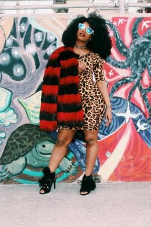 bronze Forever 21 dress - brick red Boohoo coat - black Missguided heels