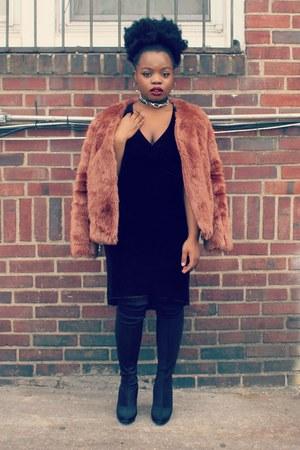 black Forever 21 boots - black vintage dress - salmon Forever 21 jacket
