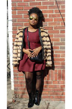 black Zara boots - crimson Forever 21 dress - brown Forever 21 coat