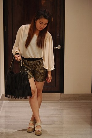 black Revolution 9 shorts - eggshell Forever 21 top - tan Charles & Keith wedges