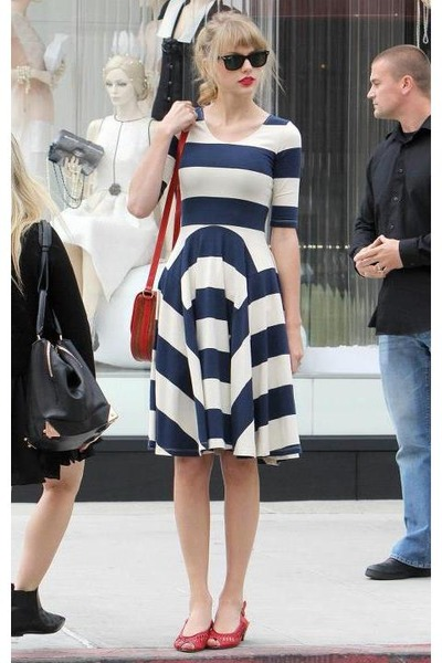 Blue Stripes Unknown Brand Dress Red Flats