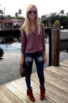 Steve Madden boots - ann taylor bag - Chloe sunglasses