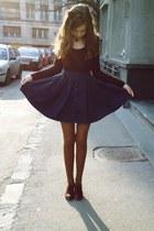 navy pull&bear skirt - dark brown Stradivarius blouse