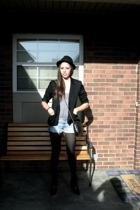 blazer - H&M boots - American Apparel top