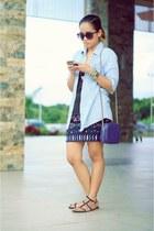 black aztec la moda skirt - purple jennifer moore bag - black Forever 21 sandals