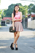 beige polka dots Paint Me Colourful skirt - coral hm Paint Me Colourful top