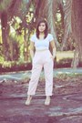 Light-pink-high-waist-american-clothing-co-pants-white-midriff-bazaar-top