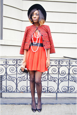 red a-line aline H&M dress - red tweed Forever 21 jacket