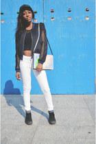 iridescent Zara bag - white white American Eagle jeans