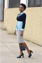 navy leather bag - black cropped sweater - light blue denim top