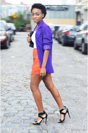 deep purple wool jacket - carrot orange comfortable shorts - white crop top top