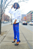 blue mesh Karmaloop pants - light blue iridescent Zara bag