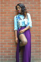 purple maxi skirt Urban Outfitters skirt - black chelsea boots Clarks boots