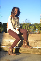 eggshell knit thrifted vintage sweater - brown military Aldo boots