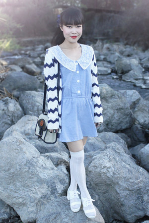 navy BB Dakota sweater - periwinkle periwinkle dress - beige Dooney & Bourke bag