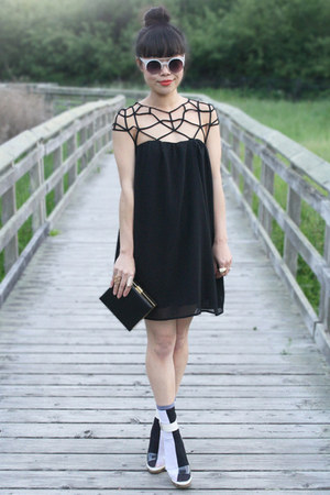 black Choies dress - black two tone socks asos socks