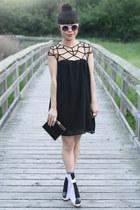 black Choies dress - black two tone socks asos socks