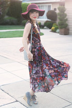 maroon floppy hat f21 hat - crimson Penny Young dress