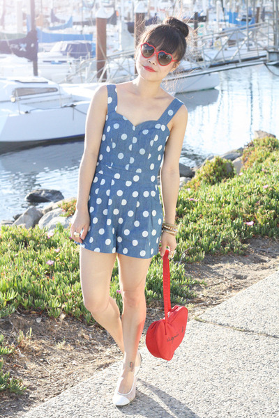 blue monteau romper - red Agnes B bag