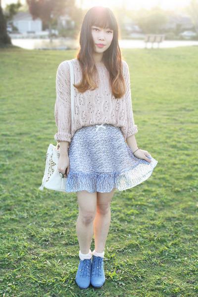 light blue For Love and Lemons skirt - sky blue ros hommerson boots