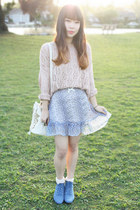 light blue For Love and Lemons skirt - sky blue ros hommerson boots