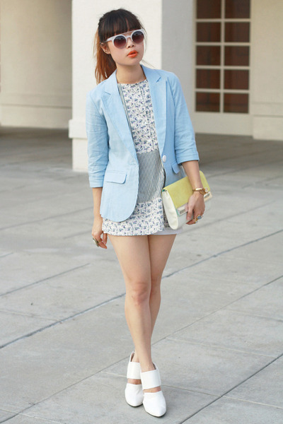 light blue Charlotte Russe blazer - light yellow H&M bag