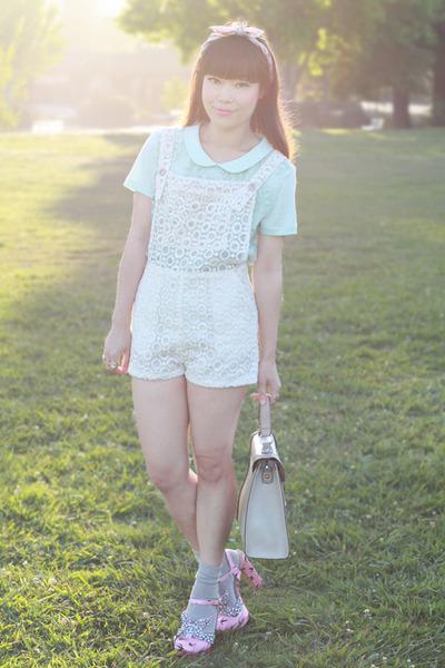 aquamarine H&M top - beige keira handbag melie bianco bag - ivory Montar romper