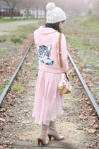 light pink handmade sweater - light pink floral handbag let them eat cake bag
