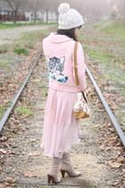 light pink handmade sweater - light pink floral handbag let them eat cake bag