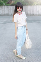 ivory vivetta blouse - light blue jeans - ivory bailey bag melie bianco bag