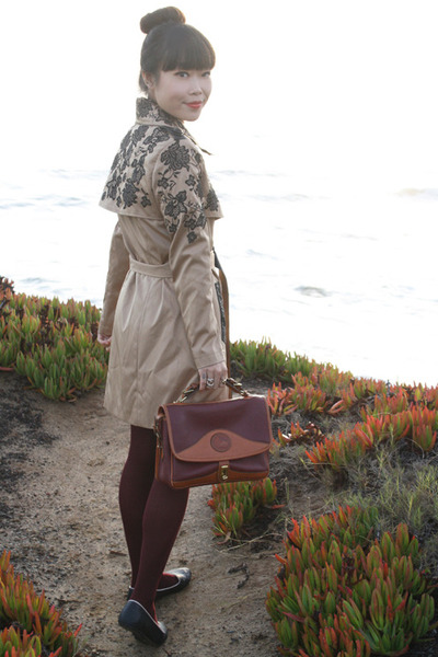 tan OASAP coat - maroon Dooney & Bourke bag