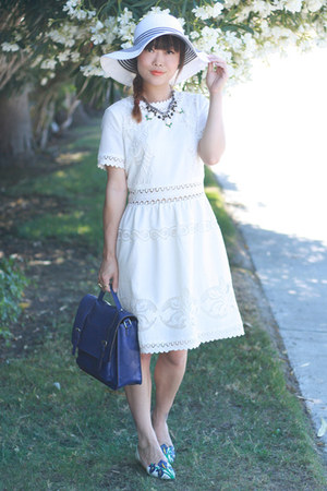 white JewelMint necklace - white Zalo shoes - white Ark & Co dress