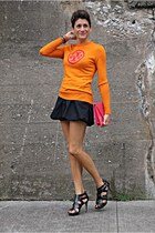 orange tory burch sweater - hot pink bag - black Armani Exchange skirt
